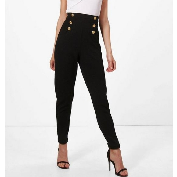 0064c22bfdfab Boohoo Pants | New Black High Waisted Gold Button Trousers 4 | Poshmark